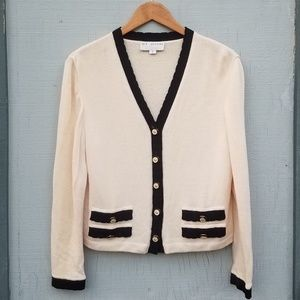 St. John | Cardigan Sweater Buttons Cream Black